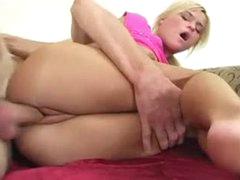 Sweet petite blonde girl pumped in the snatch