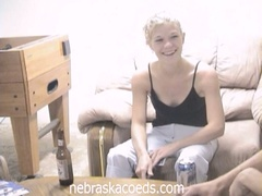 Drunk blonde coed loses undress poker and masturbates