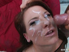 Casey Cumz receives her face saturated with warm cum
