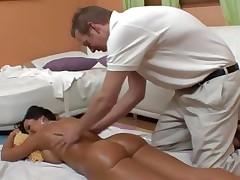 An oiled up bare Lisa Ann gets an after massage fuck