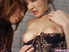 2 Hawt Oriental Girls In Sexy Underware Sucking Each Other Nipples Patting On The Mattress In The Basement