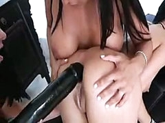 Pretty lesbian girls know how to put massive darksome dildo into dark hole