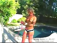 Bikini girl receives on her knees to suck and receives fucked bent over