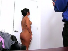 Awesome interview with beautiful chick Rose, showing her nice-looking body on camera