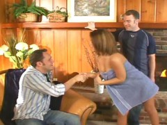 Enchanting juvenile Latina playgirl gets hardcore double penetration in this three-some