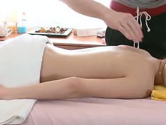 Slim and tenderness babe Aliya enjoys her first naked massage procedure