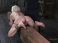 bound and fucked on a wooden barn