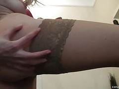 slim horny golden-haired chick rubbing her pussy