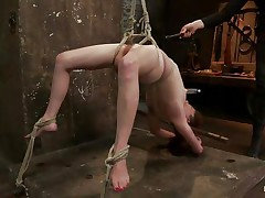 oiled hottie hanging whilst receiving her punishment