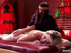 golden-haired babe massaged with oil