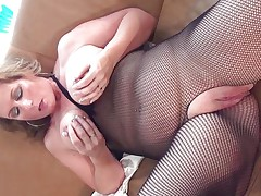 breasty blond whore masturbating and riding a sextoy