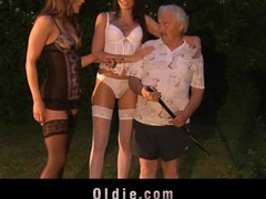 Grandpapa gardener banged by 2 hooties
