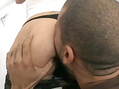 Stunning floozy with great oiled butt receives her vagina nailed