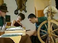 German Brunette Visited by 2 Men