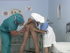 Busty Blonde Nurse Kathy Lovely Receives Facialized In a Bisex Threesome