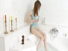 Super bony girl in the bathroom