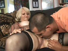 Sex obsessed blonde mom Sophie Tits with wet pierced pussy seduces latino boy Deeldo Gomez into fucking. He eats her pierced aged pussy and she sucks his dick previous to they fuck.