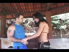 Hot shemale acquires her gazoo fucked outdoors